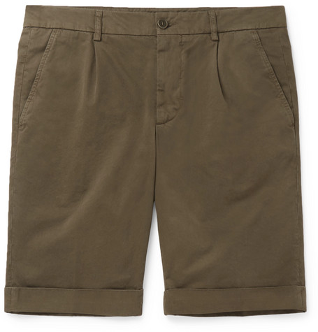 Slim Fit Pleated Cotton Twill Chino Shorts by Aspesi