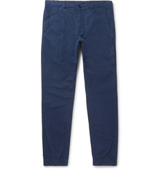 Aspesi Navy Tapered Slim-Fit Garment-Dyed Cotton Trousers