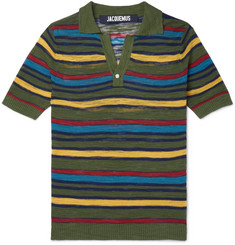 Jacquemus Slim-Fit Striped Knitted Cotton-Blend Polo Shirt