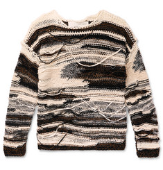 Isabel Benenato Distressed Cotton-Blend Sweater
