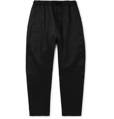 Isabel Benenato Black Tapered Linen Drawstring Trousers