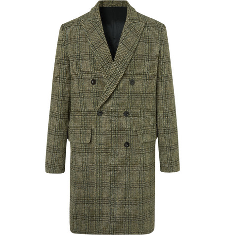 MR P. Double-Breasted Prince Of Wales Checked Virgin Wool Overcoat - Green