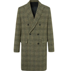 Mr P. Double-Breasted Prince of Wales Checked Virgin Wool Overcoat