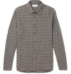 Mr P. - Checked Textured Wool and Cotton-Blend Shirt