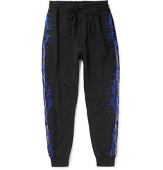 Haider Ackermann Slim-Fit Tapered Embroidered Loopback Cotton-Jersey Sweatpants