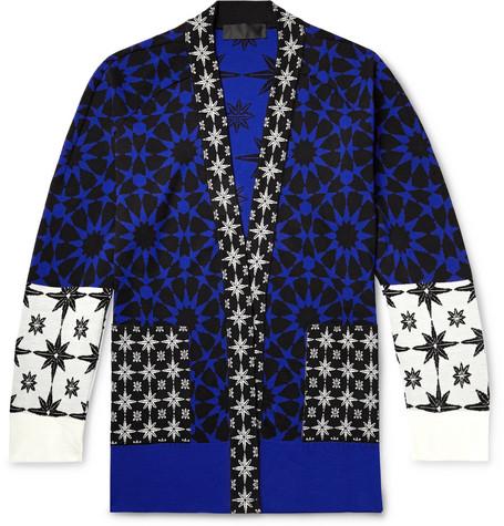 Haider Ackermann Jackets INTARSIA WOOL-PANELLED CASHMERE AND ILK-BLEND CARDIGAN - BLUE