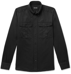 TOM FORD Slim-Fit Button-Down Collar Linen and Cotton-Blend Shirt