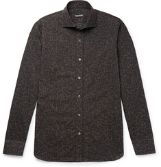 TOM FORD Slim-Fit Cutaway-Collar Printed Cotton-Blend Poplin Shirt