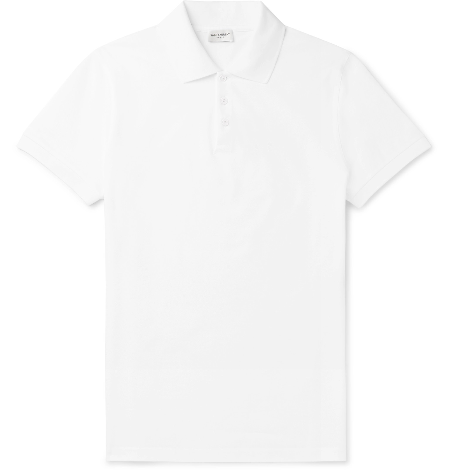 550df3333f1 SAINT LAURENT - Embroidered Cotton-Piqué Polo Shirt