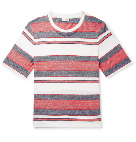35c8060786 SAINT LAURENT - Striped Linen and Cotton-Blend T-Shirt