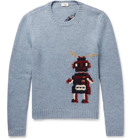 Robot Intarsia Wool Blend Sweater by Saint Laurent
