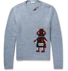 Saint Laurent Robot-Intarsia Wool-Blend Sweater