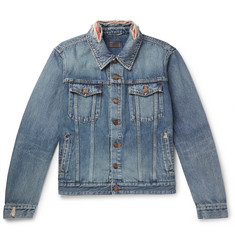 Saint Laurent Slim-Fit Bandana-Trimmed Distressed Denim Jacket