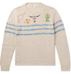 Slim Fit Printed Cotton And Linen Blend Sweater by Saint Laurent