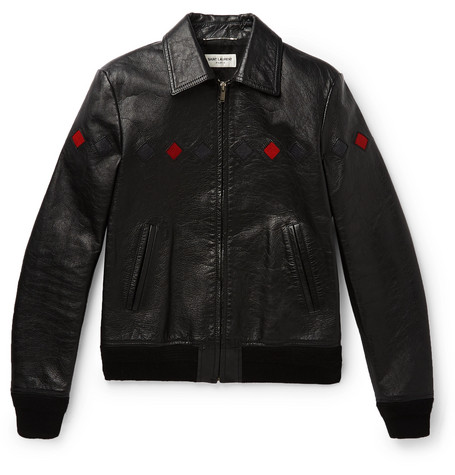 Slim Fit Full Grain Leather Bomber Jacket by Saint Laurent