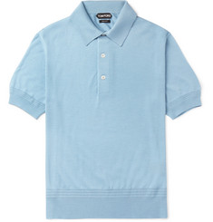 TOM FORD Slim-Fit Cashmere and Silk-Blend Piqué Polo Shirt