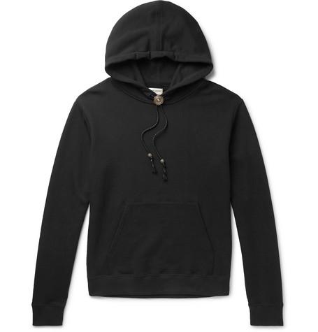 Saint Laurent – Bolo Tie Leather-trimmed Loopback Cotton-jersey Hoodie – Black