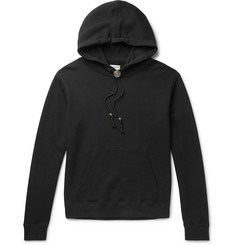 Saint Laurent Bolo Tie Leather-Trimmed Loopback Cotton-Jersey Hoodie