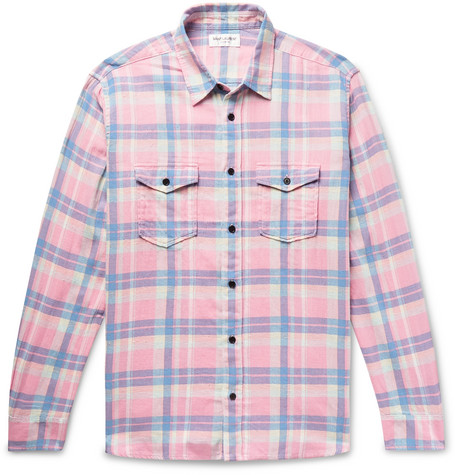 Checked Slub Cotton, Linen And Ramie Blend Shirt by Saint Laurent