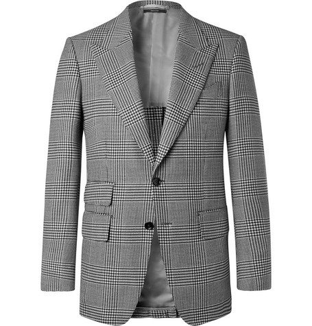 990ec5a79 TOM FORDShelton Slim-Fit Checked Wool, Mohair and Silk-Blend Suit Jacket