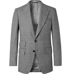 TOM FORD - Shelton Slim-Fit Checked Wool, Mohair and Silk-Blend Suit Jacket