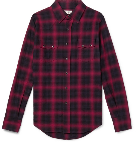 Checked Cotton Blend Flannel Shirt by Saint Laurent