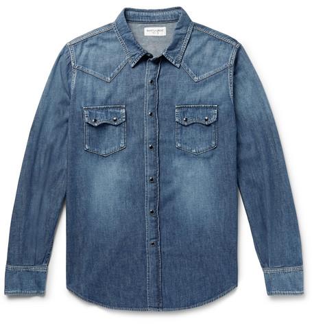 Slim Fit Denim Western Shirt by Saint Laurent