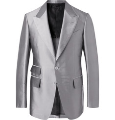 TOM FORD Silver Shelton Twill Suit Jacket