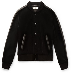 Saint Laurent Leather-Trimmed Appliquéd Velvet Bomber Jacket