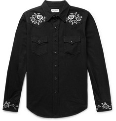 Saint Laurent Slim-Fit Embroidered Cotton Western Shirt