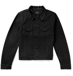 Saint Laurent Leather-Trimmed Denim Jacket