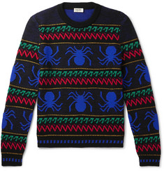 SAINT LAURENT - Slim-Fit Spider-Intarsia Wool Sweater