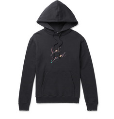 SAINT LAURENT - Logo-Print Loopback Cotton-Jersey Hoodie