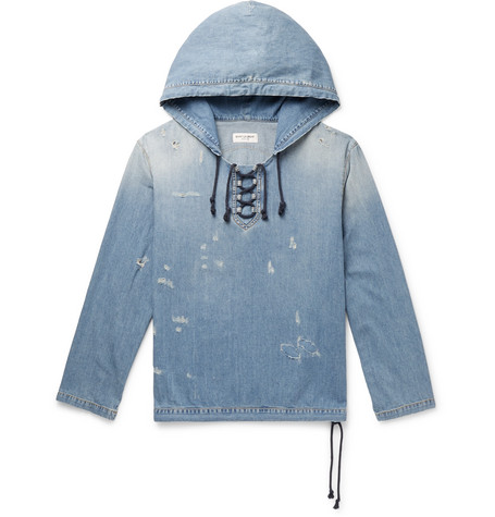 Distressed Lace Up Denim Hoodie by Saint Laurent
