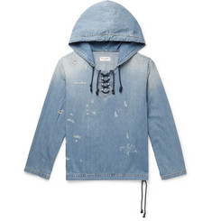 Saint Laurent - Distressed Lace-Up Denim Hoodie