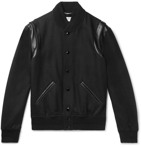 000c7617dc5 SAINT LAURENT - Teddy Leather-Trimmed Wool Bomber Jacket