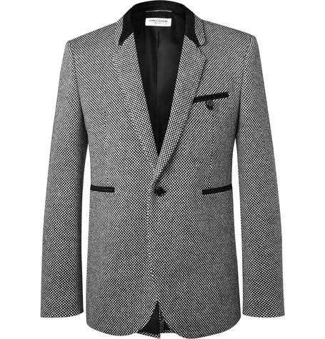 Slim Fit Suede Trimmed Virgin Wool Blend Tweed Blazer by Saint Laurent
