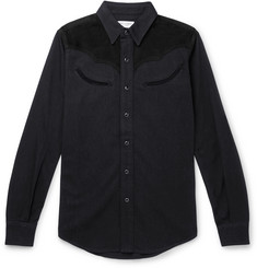 Saint Laurent Slim-Fit Suede-Trimmed Denim Shirt