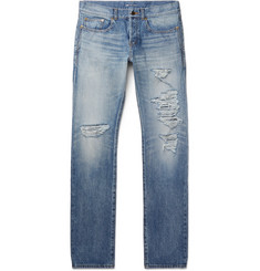 Saint Laurent Skinny-Fit 17cm Hem Distressed Denim Jeans