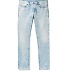 Saint Laurent Slim-Fit 17cm Hem Distressed Washed Denim Jeans