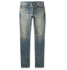 dab8173abd5 Saint Laurent Skinny-Fit 15cm Hem Distressed Stretch-Denim Jeans