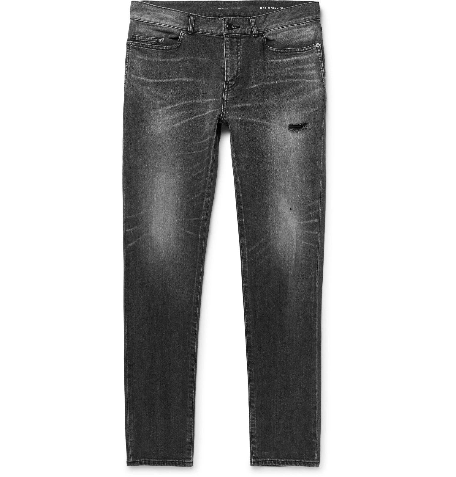 ca37727eb9769 Saint Laurent - Skinny-Leg 15cm Hem Distressed Denim Jeans