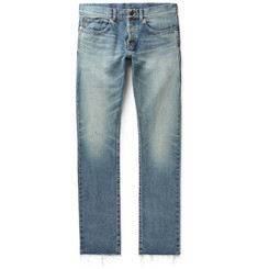 Saint Laurent Slim-Fit Panelled Distressed Denim Jeans