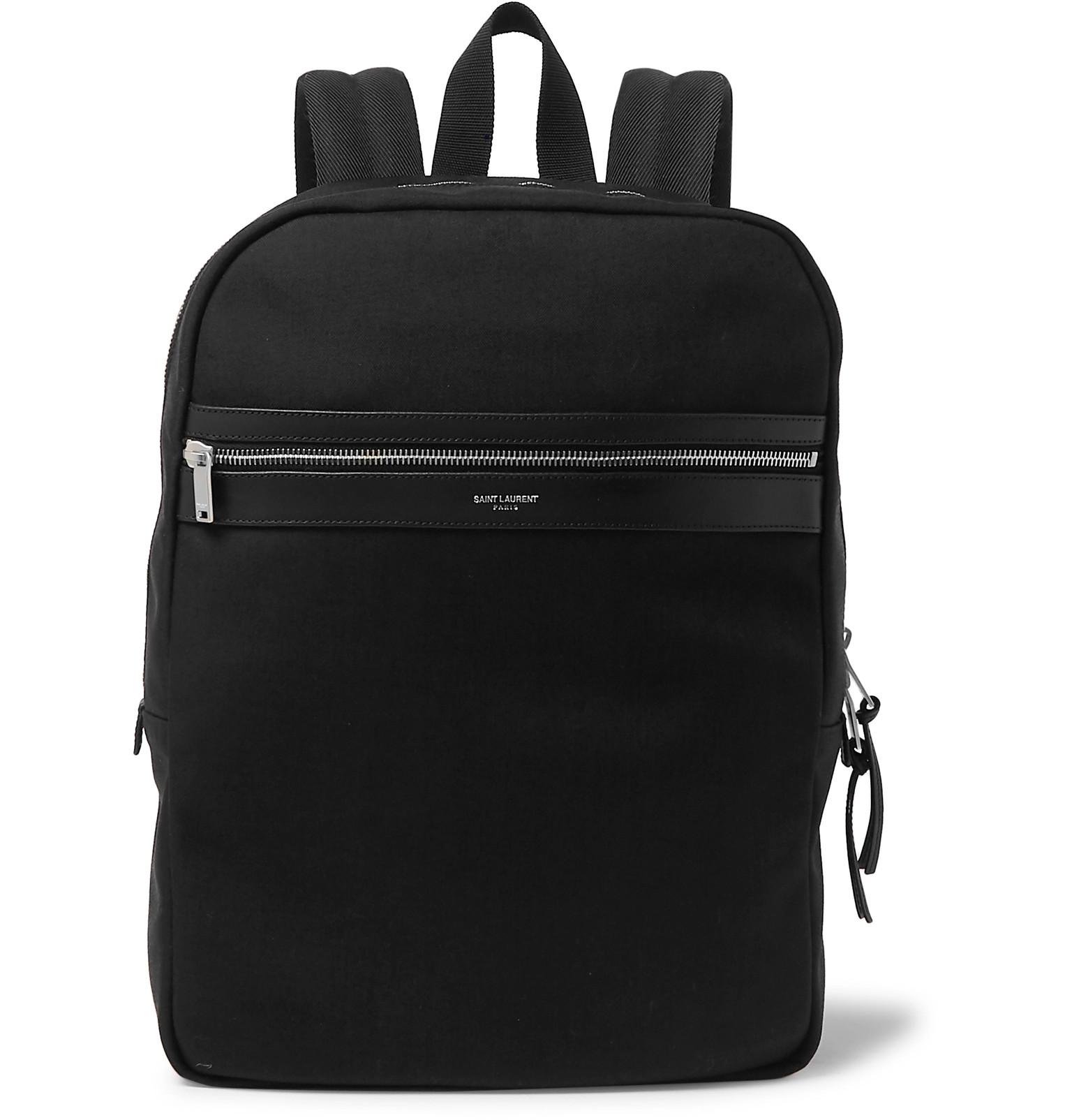 Saint Laurent - Leather-Trimmed Canvas Backpack 85d7c23e3b9
