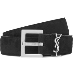 Saint Laurent 3cm Black Suede Belt