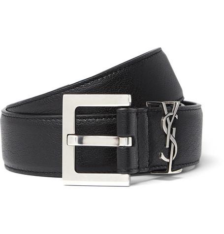 SAINT LAURENT – 3cm Black Full-grain Leather Belt – Black