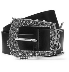 Saint Laurent - 4cm Black Leather Belt