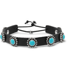Saint Laurent Leather, Turquoise and Silver Bracelet