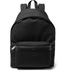 City Leather-trimmed Canvas Backpack - Black