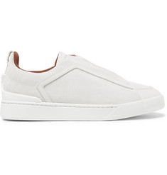 Ermenegildo Zegna Leather-Trimmed Nubuck Sneakers